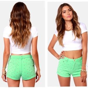 MinkPink Cheeky Mint Green Studded Jean Shorts S
